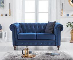 Cardiff Blue Velvet 2 Seater Sofa