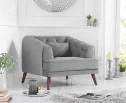 Destiny Grey Velvet Armchair