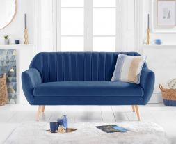 Luxor Blue Velvet 3 Seater Sofa
