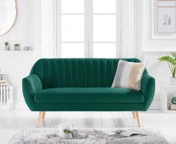 Luxor Green Velvet 3 Seater Sofa