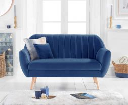 Luxor Blue Velvet 2 Seater Sofa