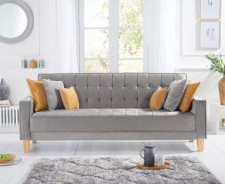 Ramsey Grey Velvet Sofa Bed