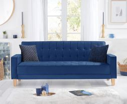 Ramsey Blue Velvet Sofa Bed