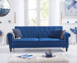 Ora Blue Velvet Sofa Bed