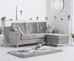 Waso Grey Velvet Reversible Chaise Sofa