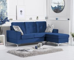 Waso Blue Velvet Reversible Chaise Sofa