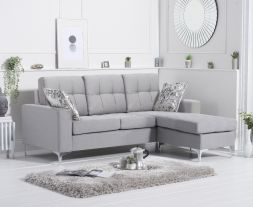 Waso Grey Linen Reversible Chaise Sofa