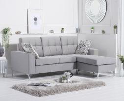 Waso Grey Linen Reversible Chaise Sofa