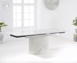 Mozart 160cm White Extending Marble Dining Table