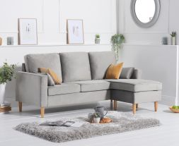 Whisper Grey Velvet Reversible Chaise Sofa