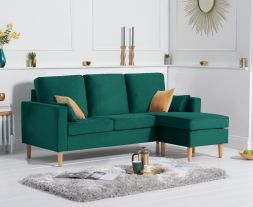 Whisper Green Velvet Reversible Chaise Sofa