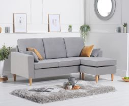 Whisper Grey Linen Reversible Chaise Sofa