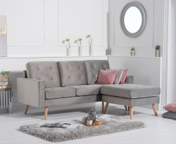 Wester Grey Velvet Reversible Chaise Sofa