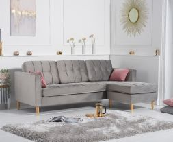West Ridge Grey Velvet Reversible Chaise Sofa