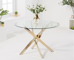 Daytona 120cm Glass Gold Leg Dining Table