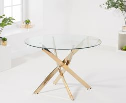 Daytona 110cm Glass Gold Leg Dining Table