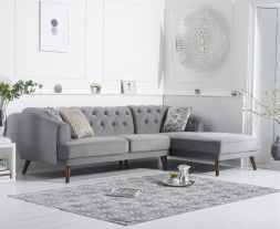 Destiny Grey Velvet Right Hand Facing Corner Sofa