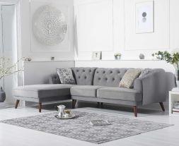 Destiny Grey Velvet Left Hand Facing Corner Sofa