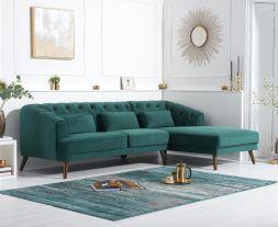 Destiny Green Velvet Right Hand Facing Corner Sofa