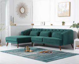 Destiny Green Velvet Left Hand Facing Corner Sofa