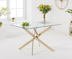 Daytona 120cm Rectangular Glass Gold Leg Dining Table