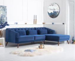 Destiny Blue Velvet Right Hand Facing Corner Sofa