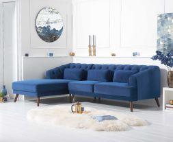 Destiny Blue Velvet Left Hand Facing Corner Sofa