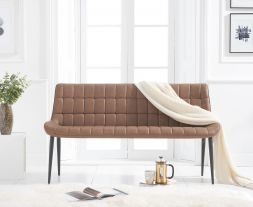 Horacio Brown Faux Leather Bench