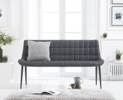 Horacio Grey Faux Leather Bench