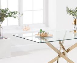 Daytona 160cm Rectangular Glass Gold Leg Dining Table