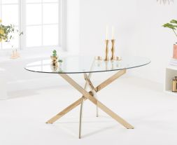 Daytona 165cm Oval Glass Gold Leg Dining Table