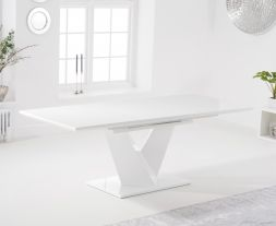 Hunter 160cm White High Gloss Extending Dining Table