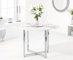 Abingdon White Marble Dining Table