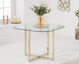 Abingdon Gold Leg - Clear Glass Dining Table