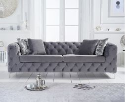 Alegra Grey Velvet 3 Seater Sofa