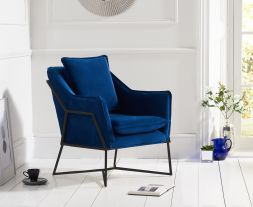 Larna Blue Velvet Accent Chair with Black Legs
