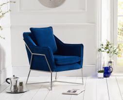 Larna Blue Velvet Accent Chair with Chrome Legs
