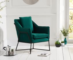 Larna Green Velvet Accent Chair with Black Legs