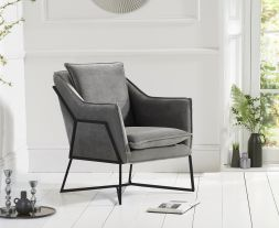 Larna Grey Velvet Accent Chair with Black Legs