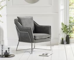 Larna Grey Velvet Accent Chair with Chrome Legs