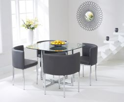 Abingdon Stowaway Dining Set With 4 Grey Dining Chairs