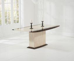Alba 180cm Cream & Brown Marble Dining Table