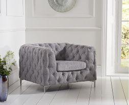 Alegra Grey Plush Chair