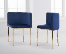 Abingdon Gold Leg - Blue Velvet Chair (Set of 4)