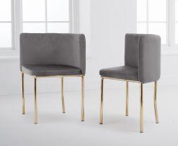 Abingdon Gold Leg - Grey Velvet Chair (Set of 4)