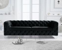 Alegra Black Velvet 3 Seater Sofa