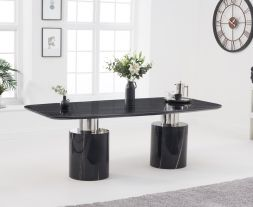 Adeline 220cm Black Marble Dining Table
