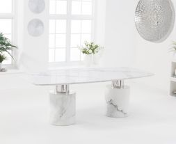 Adeline 220cm White Marble Dining Table