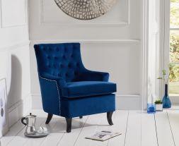 Barney Blue Velvet Accent Chair