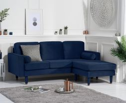 Liam Blue Velvet 3 Seater Reversible Chaise Sofa
